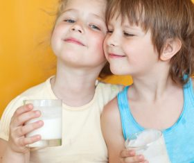 Child drink milk Stock Photo 12