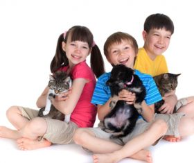 Children and favorite pets Stock Photo