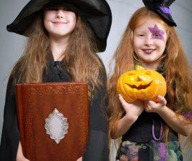 Children dressed as Halloween ghosts Stock Photo 01