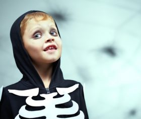 Children dressed as Halloween ghosts Stock Photo 03