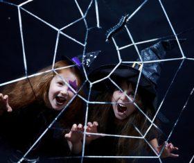 Children dressed as Halloween ghosts Stock Photo 05