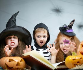 Children dressed as Halloween ghosts Stock Photo 06
