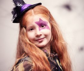 Children dressed as Halloween witches Stock Photo 02