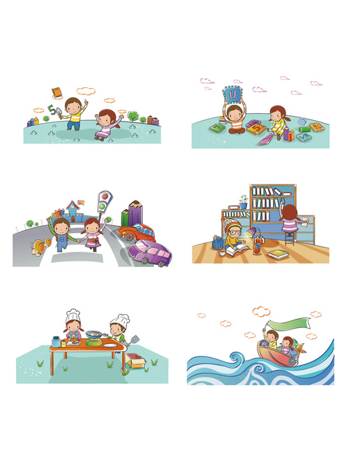 Childrens holiday simple happy play game daily life vector