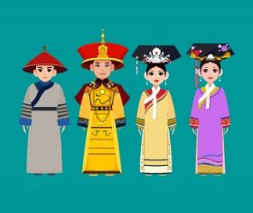 China Qing Dynasty costume figure material vector