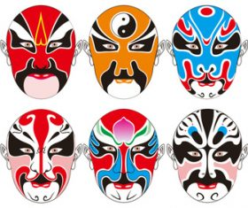 China facial design of Peking opera vector