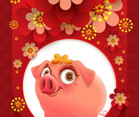 Chinese new year of the pig 2019 vector