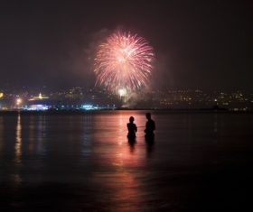 City night brilliant fireworks Stock Photo
