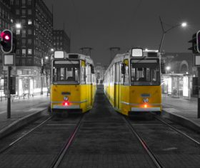 City tram stopped at night Stock Photo