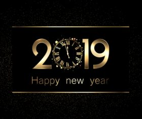 Clock with 2019 new year design vectors
