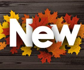 Colored autumn leaves with wooden background vector 01