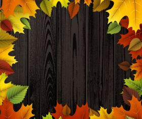 Colored autumn leaves with wooden background vector 03