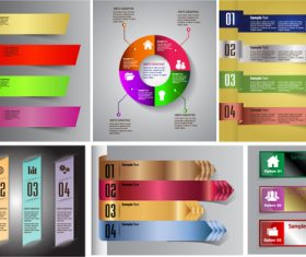 Colored banners with option infographic vector