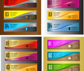 Colored business banners with number vector 01