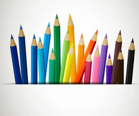 Colored pencils background vector material 01