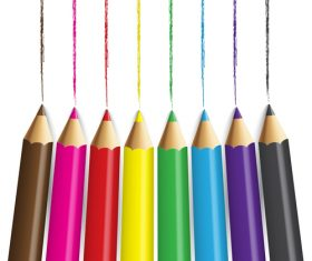 Colored pencils background vector material 07