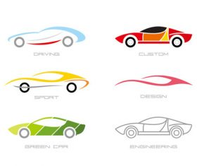 Colorful fashion sports car logo design vector
