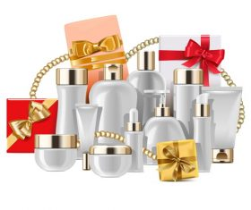 Cosmetic Packaging with Gifts vectors