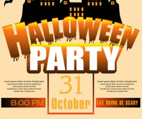 Creative halloween party flyer template vectors material 01