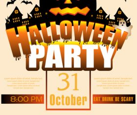 Creative halloween party flyer template vectors material 02