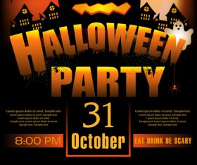 Creative halloween party flyer template vectors material 03