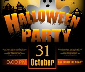 Creative halloween party flyer template vectors material 04