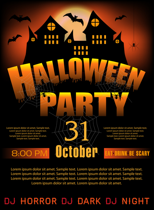 creative halloween party flyer template vectors material 05 free
