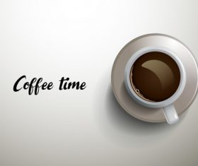 Cup with coffee time background vector