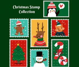 Cute christmas stamp vector material