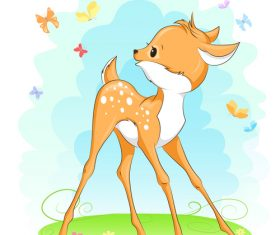 Cute deer cartoon illustration design vector 01