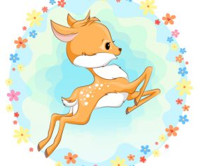 Cute deer cartoon illustration design vector 03