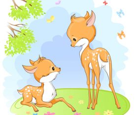 Cute deer cartoon illustration design vector 06