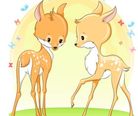 Cute deer cartoon illustration design vector 08