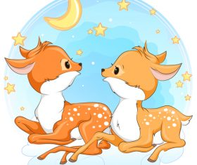 Cute deer cartoon illustration design vector 10