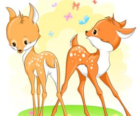 Cute deer cartoon illustration design vector 11