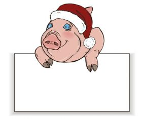Cute pig with paper background vector 01
