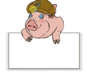 Cute pig with paper background vector 02