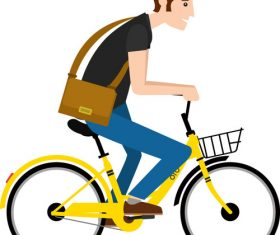 Cycling handsome guy pattern vector