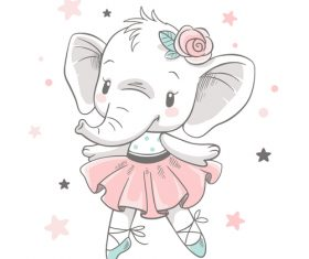 Dancing elephant cartoon vector