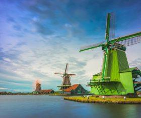 Dutch windmills Stock Photo