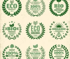 Eco labels with laurel wreath vector