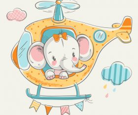 Elephant pilot girl cartoon vector