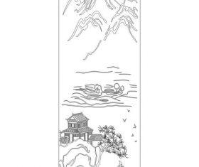 Engraving landscape vector