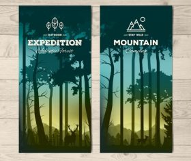 Evening woods banner vector