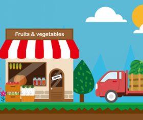 Farm product store cartoon illustration design vector