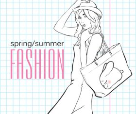 Fashion girl and notebook background vector 02