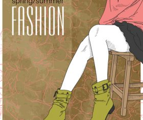 Fashion girl background art vector