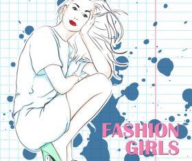 Fashion girl design vectors 01
