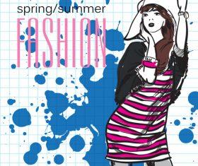Fashion girl design vectors 04