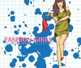 Fashion girl design vectors 05